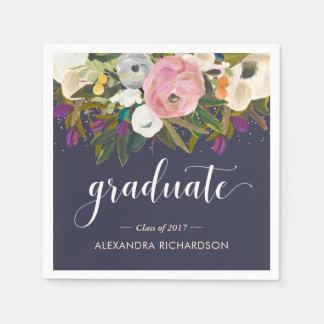 Watercolor Flowers   Midnight Blue Graduation Paper Napkin