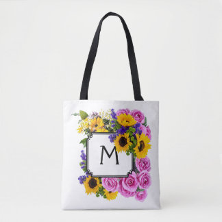 Watercolor Flowers & Monogrammed Initial #1 Tote Bag