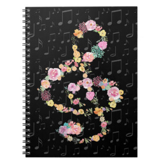 watercolor flowers music treble clef on black notebooks