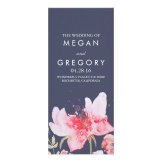 Watercolor Flowers Navy and Pink Wedding Programs Personalized Rack Card