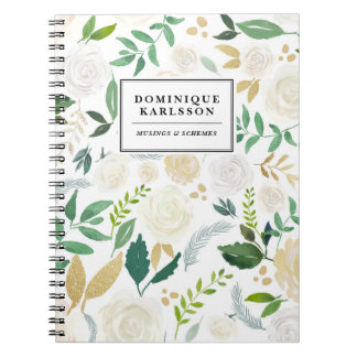 Watercolor Flowers Pattern with Faux Gold Glitter Notebook