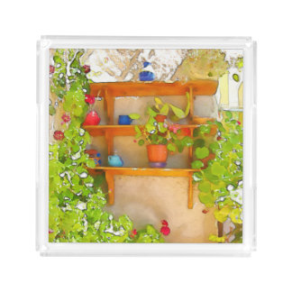 Watercolor flowers perfume tray
