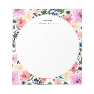 Watercolor Flowers Personalized Notepad