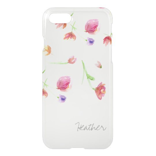 Watercolor flowers, personalized with name. iPhone 8/7 case