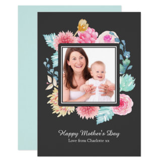 Watercolor Flowers Photo Frame Personalized Card