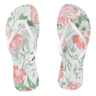Watercolor Flowers Pink pastel Flip Flops