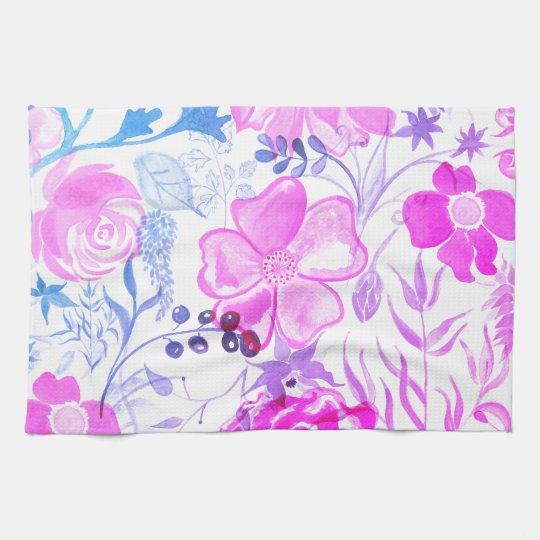 Watercolor Flowers Pink Pattern Kitchen Towel
