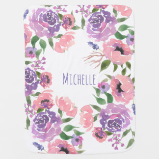 Watercolor Flowers Pink Violet Floral Leaves Chic Swaddle Blankets
