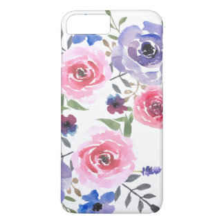 Watercolor Flowers Pink Violet Rose Modern Case-Mate iPhone Case