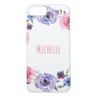 Watercolor Flowers Pink Violet Rose Modern iPhone 8/7 Case