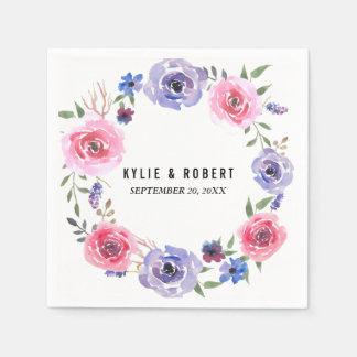 Watercolor Flowers Pink Violet Rose Wreath Wedding Paper Napkins