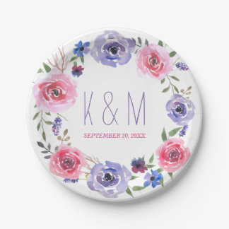 Watercolor Flowers Pink Wreath Wedding Monogram 7 Inch Paper Plate