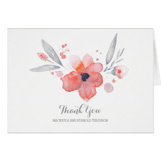Watercolor Flowers Romantic Wedding Thank You Card