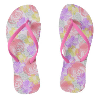 Watercolor Flowers Rose pastel tones Flip Flops