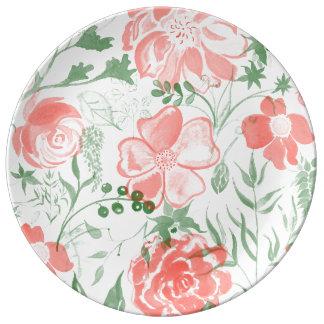 Watercolor Flowers Rose pastel tones Plate