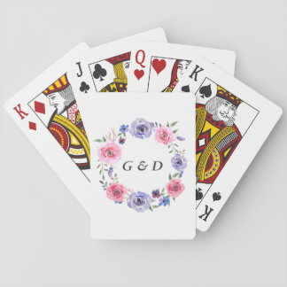 Watercolor Flowers Rose Wreath Wedding Favor Playing Cards