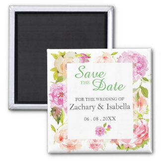 "Watercolor Flowers Save the Date 2"" Magnet"