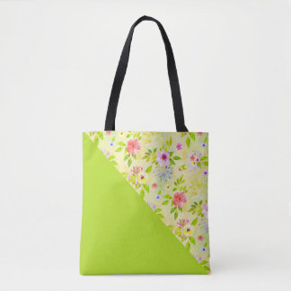 Watercolor Flowers seamless pattern I + your ideas Tote Bag