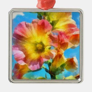 Watercolorflowers Silver-Colored Square Ornament