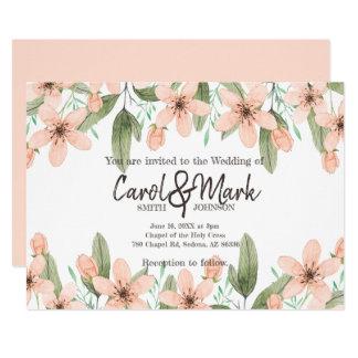 Watercolor Flowers. Spring Wedding. Card