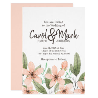 Watercolor Flowers. Spring Wedding Invitation. Card