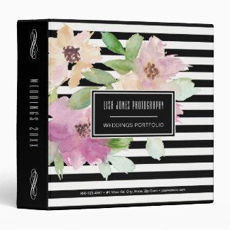 Watercolor Flowers & Stripes 3 Ring Binder