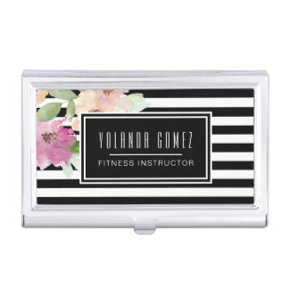 Watercolor Flowers & Stripes Business Card Holder