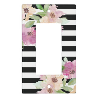 Watercolor Flowers & Stripes Light Switch Cover