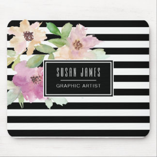 Watercolor Flowers & Stripes Mouse Pad