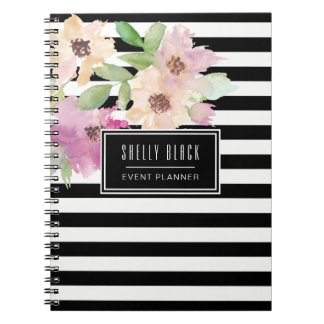 Watercolor Flowers & Stripes Notebook