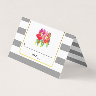 Watercolor flowers stripes wedding folded escort place card