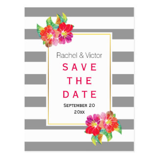 Watercolor flowers stripes wedding Save the Date Postcard