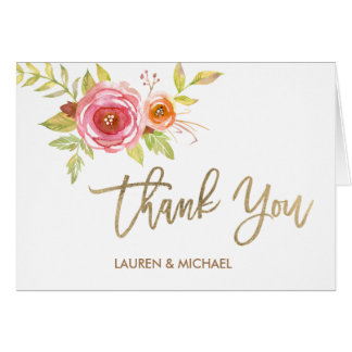 Watercolor Flowers Thank You Card Gold Foil