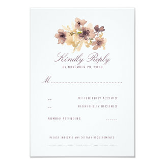 Watercolor Flowers Vintage Wedding RSVP Card