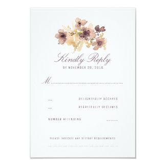 Watercolor Flowers Vintage Wedding RSVP Card