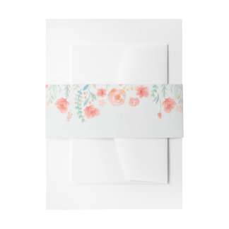 Watercolor Flowers Wedding Invitation Belly Band