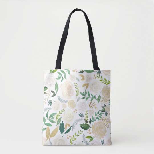 Watercolor Flowers with Faux Gold Glitter and Foil Tote Bag