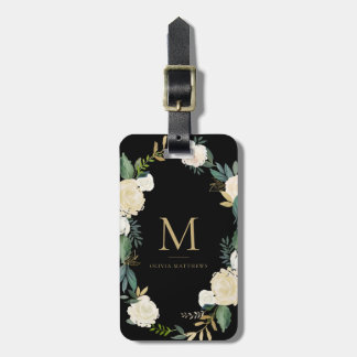 Watercolor Flowers with Gold Foil Monogram Black Luggage Tag