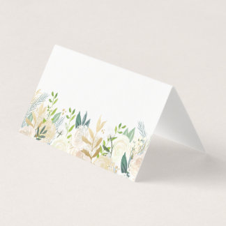 Watercolor Flowers with Gold Foil Place Cards