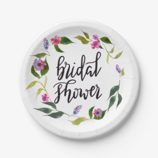Watercolor Flowers Wreath Bridal Shower Script Paper Plate