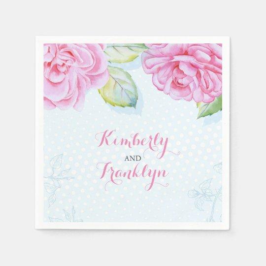 watercolor flowers wreath elegant wedding disposable napkins