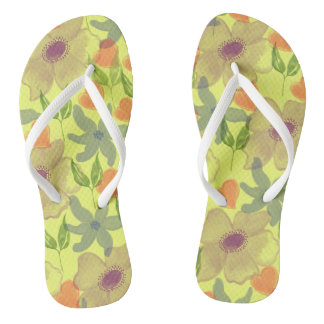 Watercolor Flowers Yellow Flip Flops