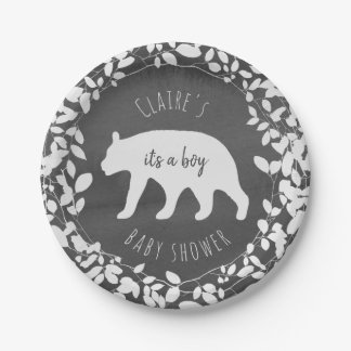 Watercolor Foliage Bear Cub Baby Shower Paper Plate