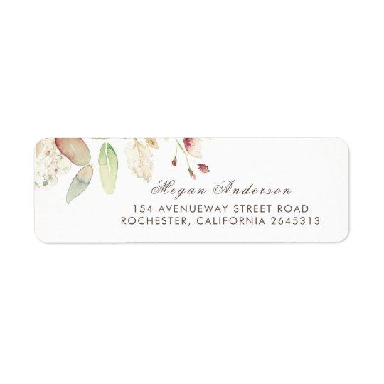 Watercolor Foliage Elegant Wedding Return Address Label