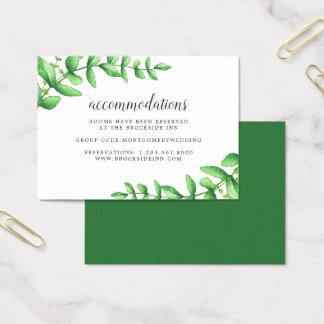Watercolor Foliage Wedding Hotel Accommodation Business Card