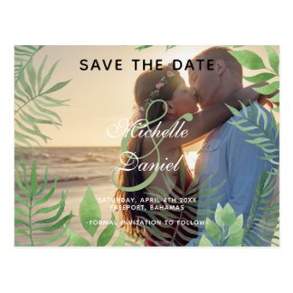 Watercolor Foliage Wedding Save The Date Postcard