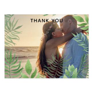 Watercolor Foliage Wedding Thank you Postcard