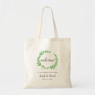 Watercolor Foliage Wedding Welcome Tote Bag