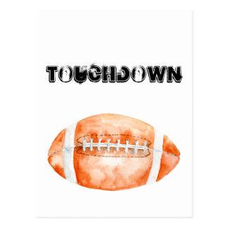 "Watercolor Football ""touchdown"" Postcard"