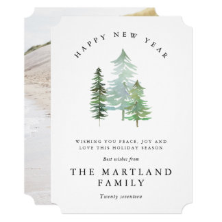 WATERCOLOR FOREST-HAPPY NEW YEAR. CARD